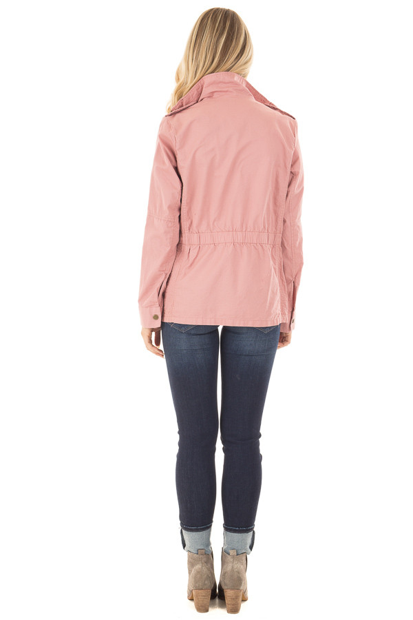 Blush Lightweight Military Jacket with Drawstring Waist back full body