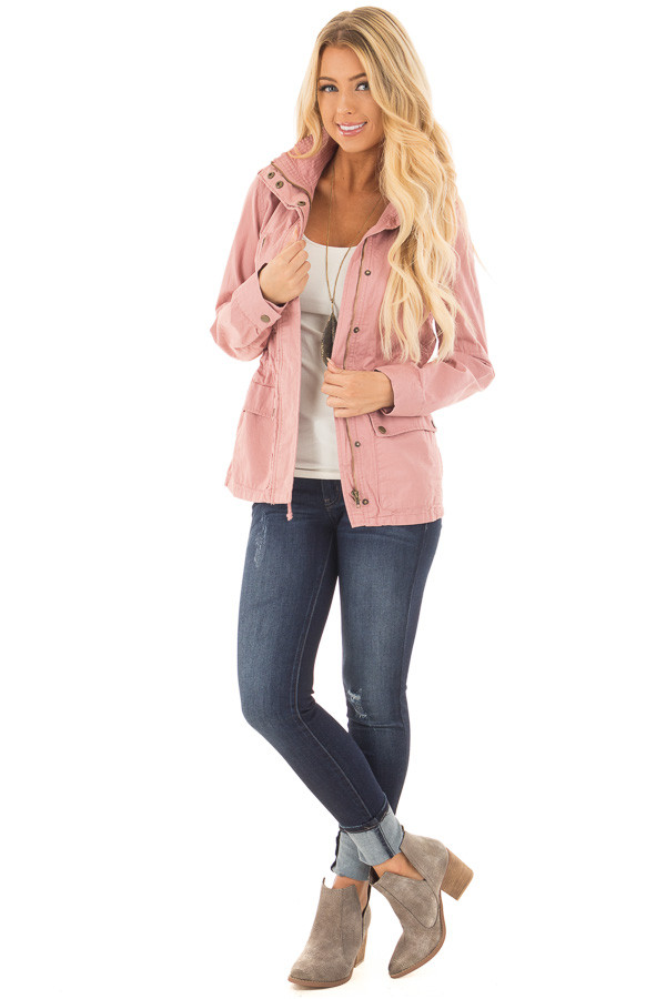 Blush Lightweight Military Jacket with Drawstring Waist front full body