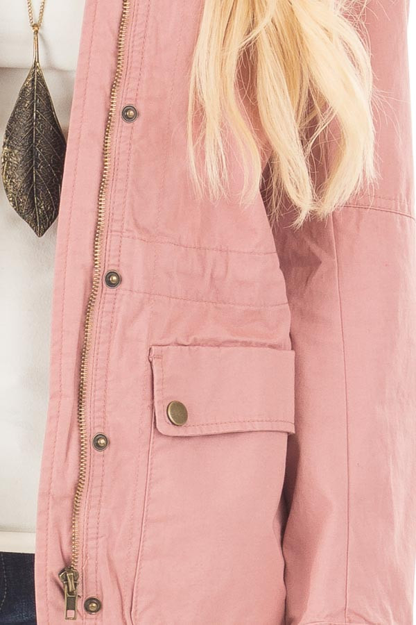 Blush Lightweight Military Jacket with Drawstring Waist detail