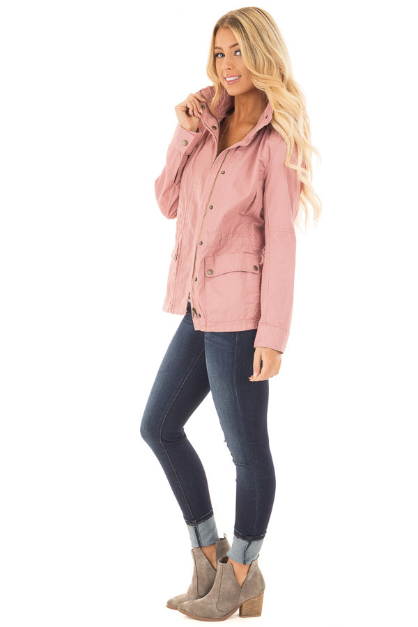 Blush Lightweight Military Jacket with Drawstring Waist side full body