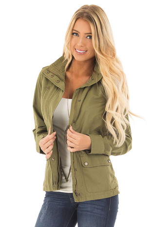 Olive Lightweight Military Jacket with Drawstring Waist front close up