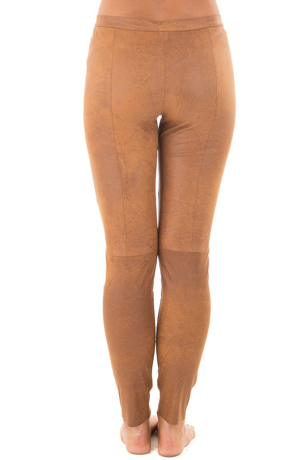 Camel Faux Leather Leggings back view