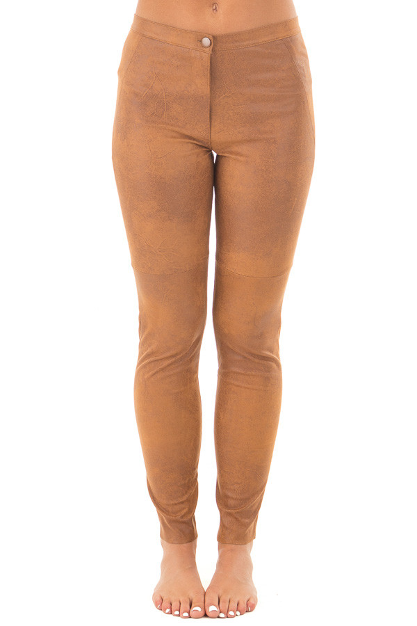 Camel Faux Leather Leggings front view