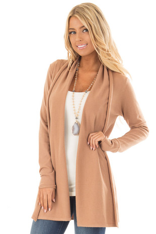 Camel Simple Drape Cardigan front close up