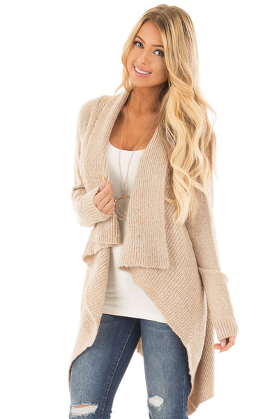Beige Waterfall Long Sleeve Sweater Cardigan front close up