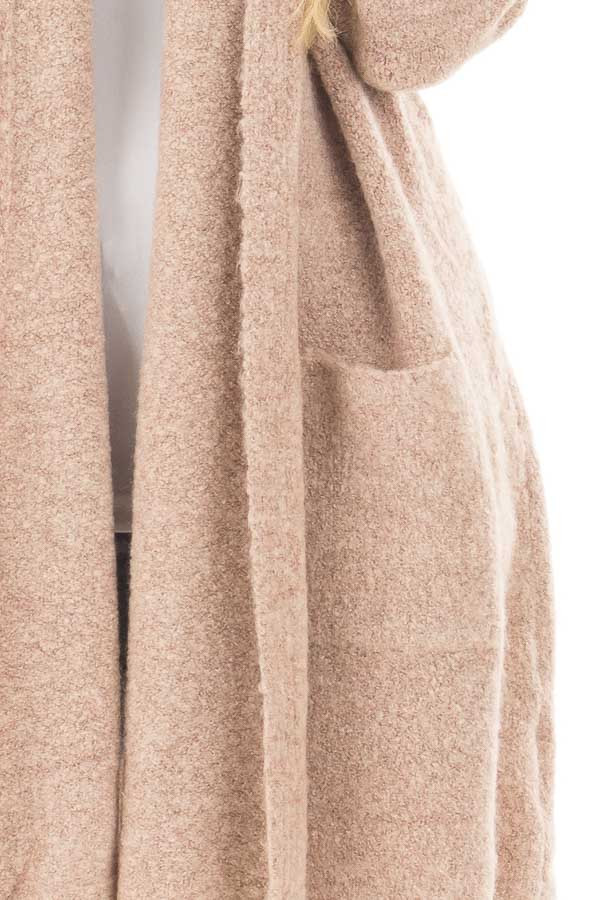 Light Dusty Rose Open Drape Sweater Cardigan with Pockets detail
