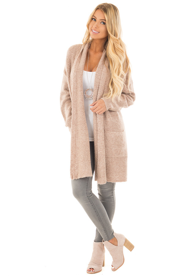 Light Dusty Rose Open Drape Sweater Cardigan with Pockets front full body