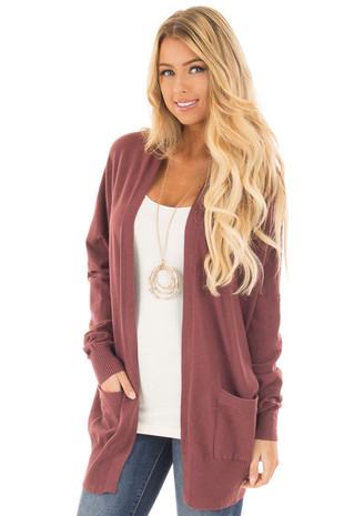 Wine Super Soft Cardigan with Pockets front close up