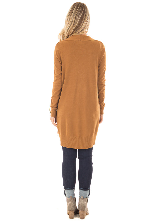 Bronze Super Soft Open Cardigan with Pockets back full body