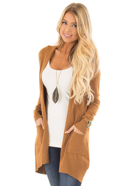 Bronze Super Soft Open Cardigan with Pockets front close up