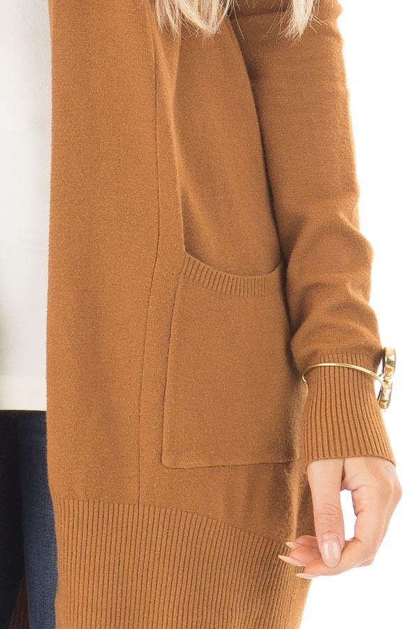 Bronze Super Soft Open Cardigan with Pockets detail