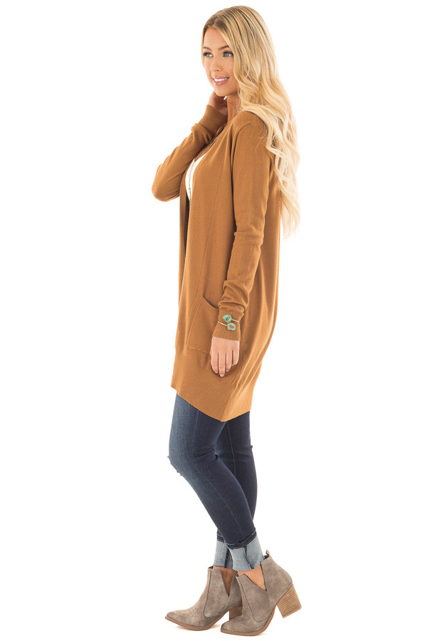 Bronze Super Soft Open Cardigan with Pockets side full body