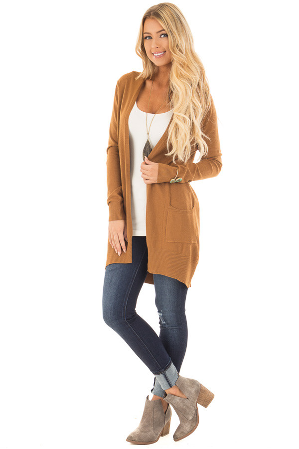 Bronze Super Soft Open Cardigan with Pockets front full body