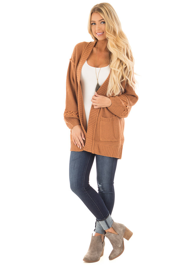 Camel Knit Cardigan with Chevron Stitch Detail on Sleeves front full body