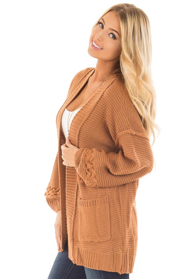 Camel Knit Cardigan with Chevron Stitch Detail on Sleeves side close up
