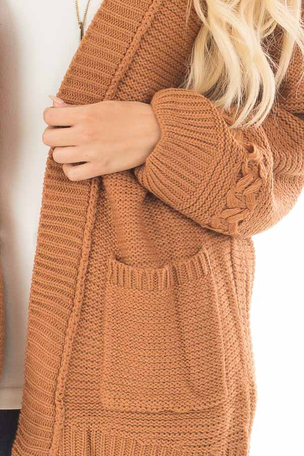 Camel Knit Cardigan with Chevron Stitch Detail on Sleeves detail