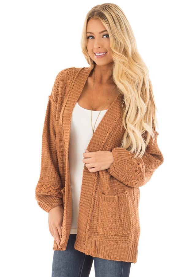 Camel Knit Cardigan with Chevron Stitch Detail on Sleeves front close up