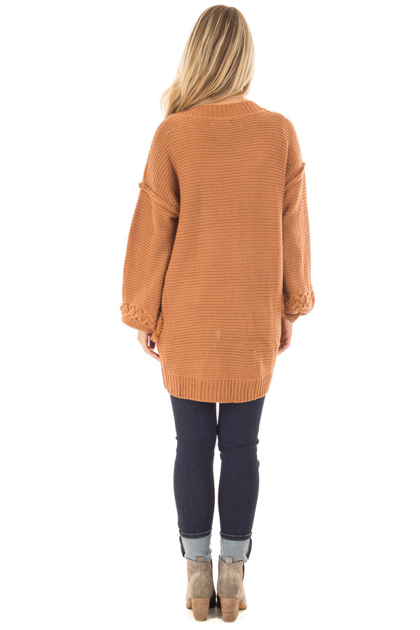 Camel Knit Cardigan with Chevron Stitch Detail on Sleeves back full body