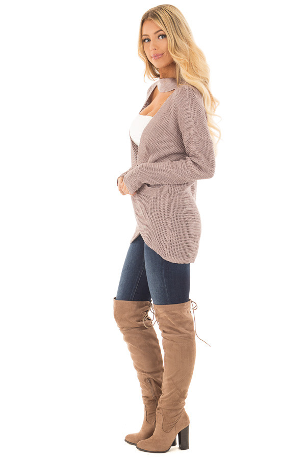 Light Cocoa Crossover Front Sweater with Choker Band side full body