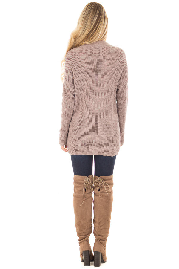 Light Cocoa Crossover Front Sweater with Choker Band back full body