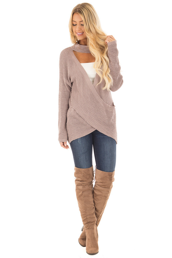 Light Cocoa Crossover Front Sweater with Choker Band front full body