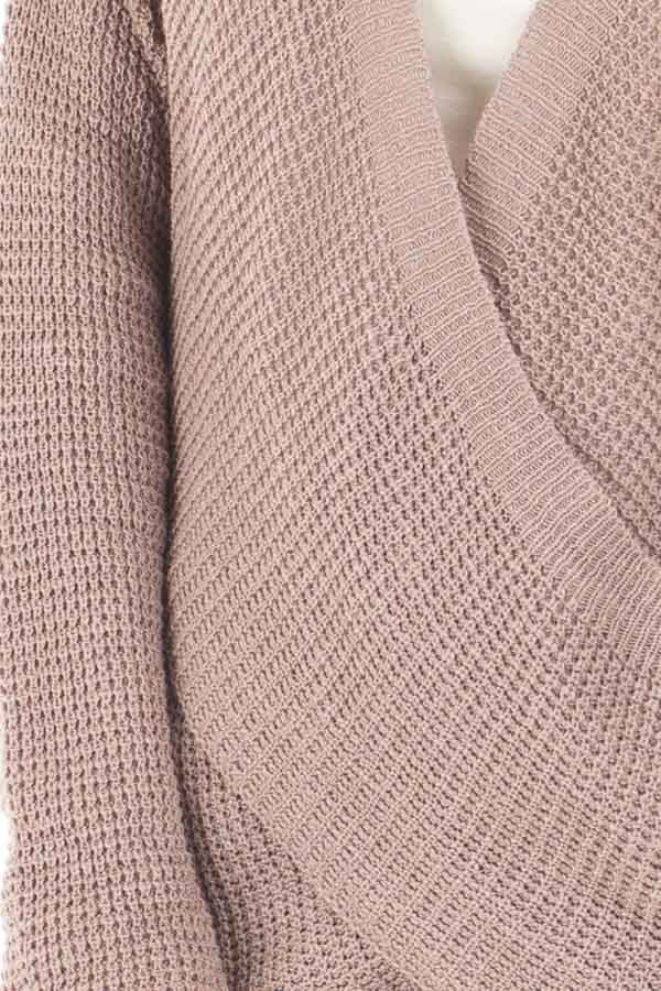 Light Cocoa Crossover Front Sweater with Choker Band detail
