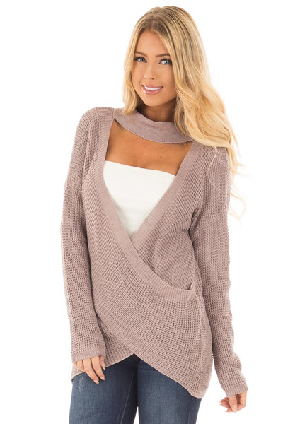 Light Cocoa Crossover Front Sweater with Choker Band front close up