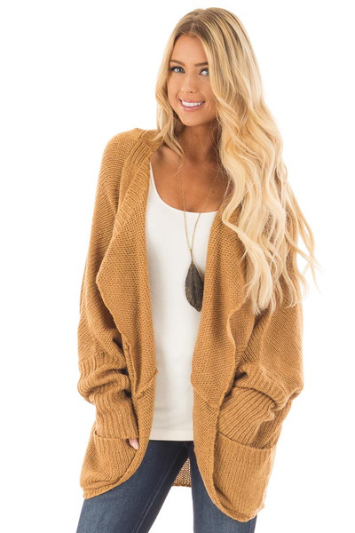 Camel Knit Cardigan with Dolman Sleeves and Pockets front close up