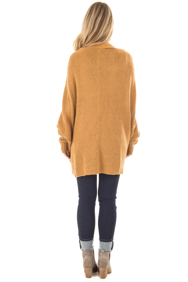 Camel Knit Cardigan with Dolman Sleeves and Pockets back full body