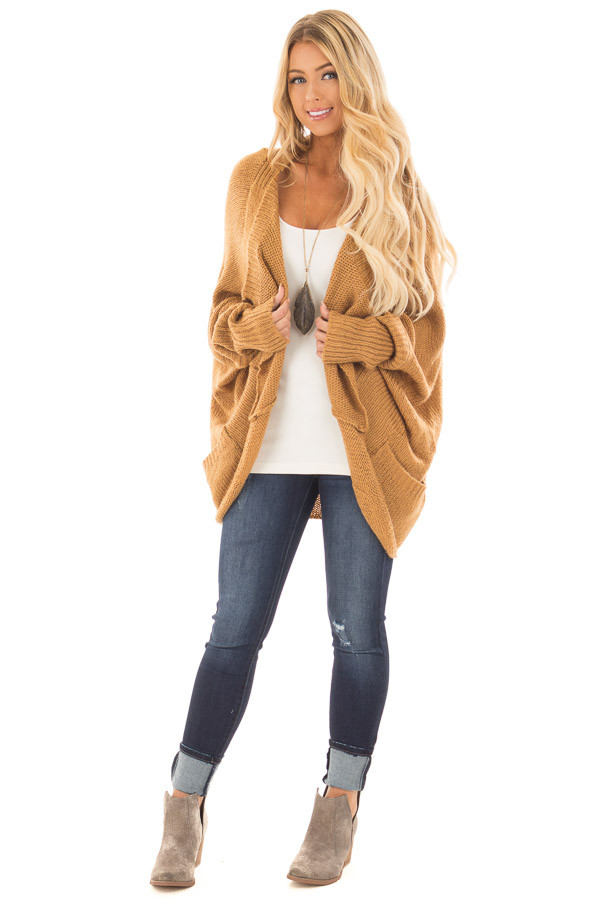 Camel Knit Cardigan with Dolman Sleeves and Pockets front full body
