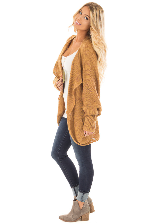 Camel Knit Cardigan with Dolman Sleeves and Pockets side full body