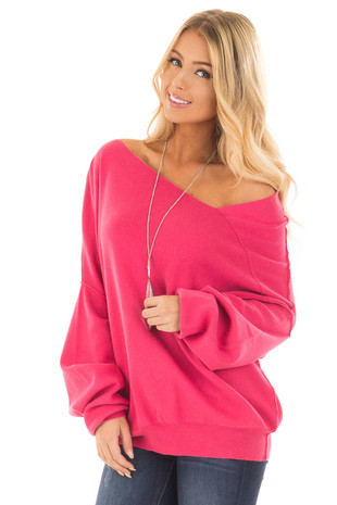 Raspberry Bare Shoulder Long Sleeve Sweater front close up