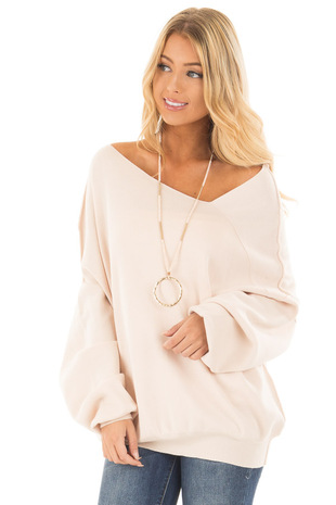Oatmeal Bare Shoulder Long Sleeve Sweater front close up