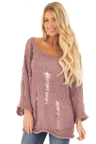 Mauve Pullover Sweater with Distressed Details front close up