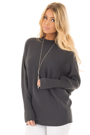 Charcoal Ribbed Long Sleeve Dolman Sweater front close up