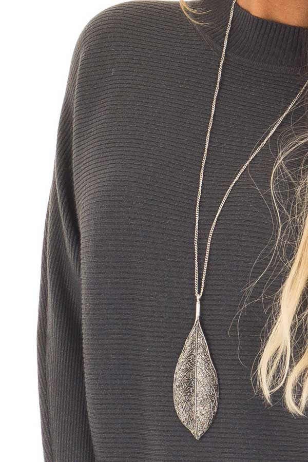Charcoal Ribbed Long Sleeve Dolman Sweater detail