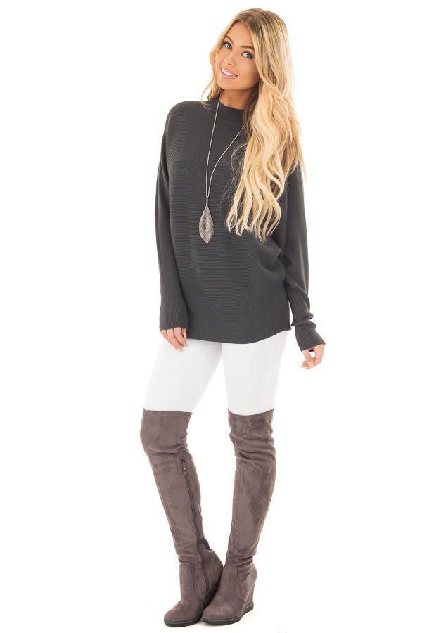 Charcoal Ribbed Long Sleeve Dolman Sweater front full body