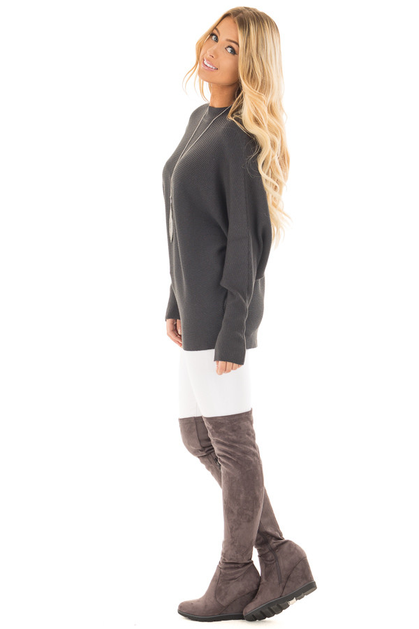 Charcoal Ribbed Long Sleeve Dolman Sweater side full body