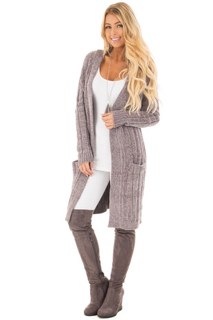Pearl Grey Soft and Luxurious Long Cardigan with Pockets front full body