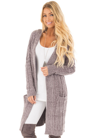 Pearl Grey Soft and Luxurious Long Cardigan with Pockets front close up