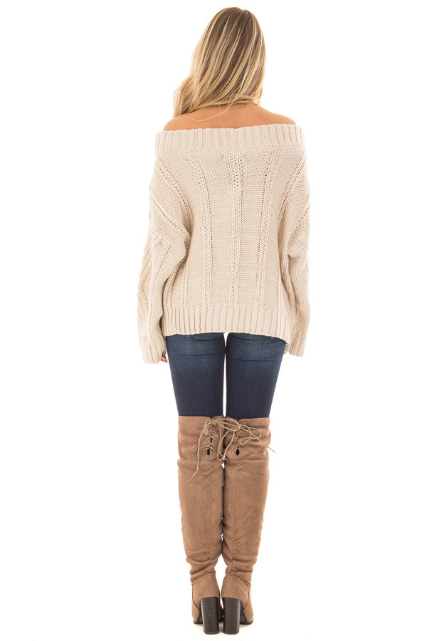 Beige Off the Shoulder Long Sleeve Cable Knit Sweater back full body
