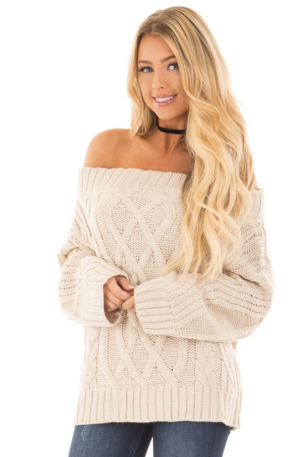 Beige Off the Shoulder Long Sleeve Cable Knit Sweater font close up