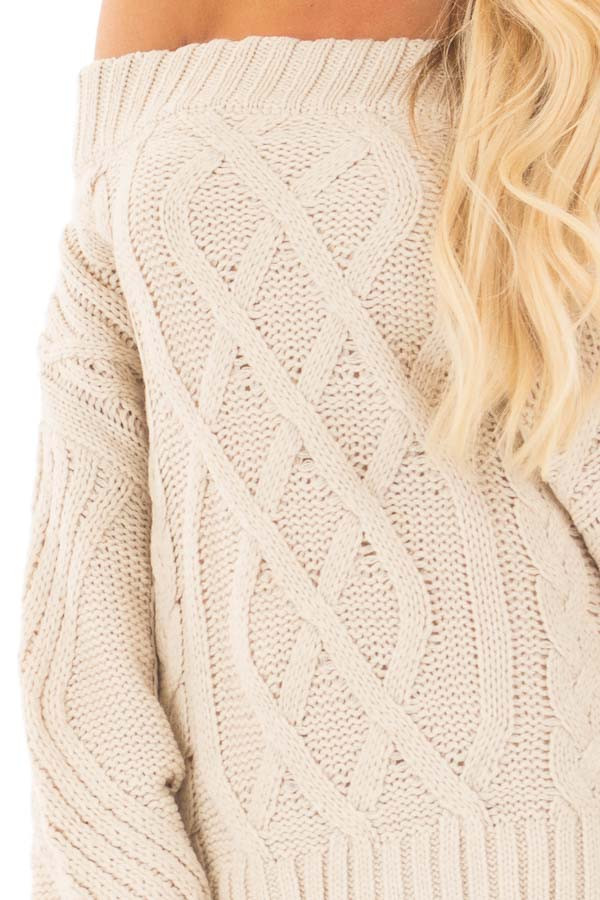 Beige Off the Shoulder Long Sleeve Cable Knit Sweater detail