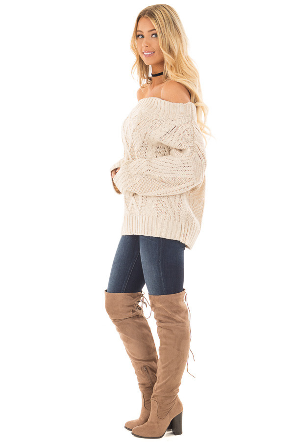 Beige Off the Shoulder Long Sleeve Cable Knit Sweater side full body