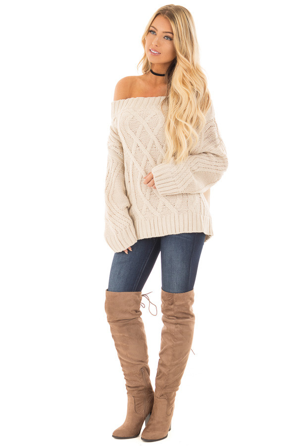 Beige Off the Shoulder Long Sleeve Cable Knit Sweater font full body