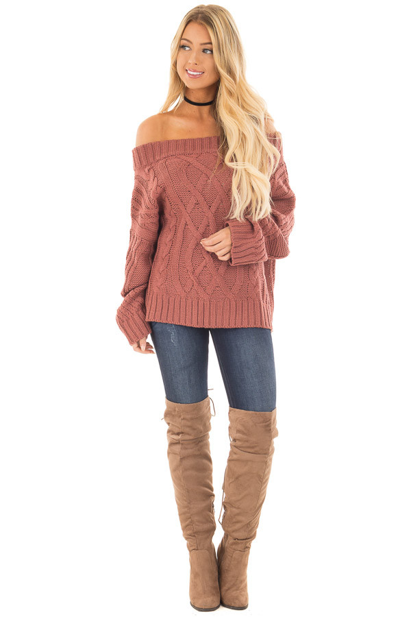 Red Bean Off the Shoulder Long Sleeve Cable Knit Sweater | Lime Lush