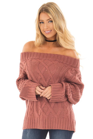 Red Bean Off the Shoulder Long Sleeve Cable Knit Sweater front close up