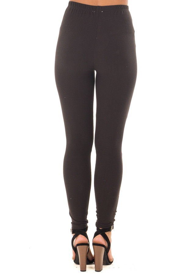 Black Soft Leggings with Lace Cut Out Details back view