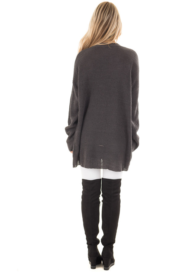 Charcoal Oversized Sweater with Criss Cross V Neck back full body