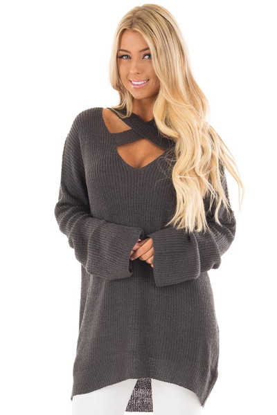 Charcoal Oversized Sweater with Criss Cross V Neck front close up